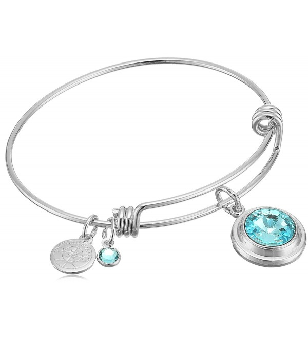 "Halos & Glories- ""Birth Month"" Crystal Bangle Bracelet - Shiny Silver - CV185O9RZZN"