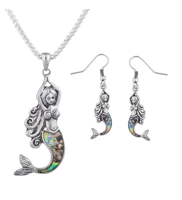Lux Accessories Burnished Silver Faux Abalone Shell Mermaid Necklace Earring Set - CB187C2ZZQN