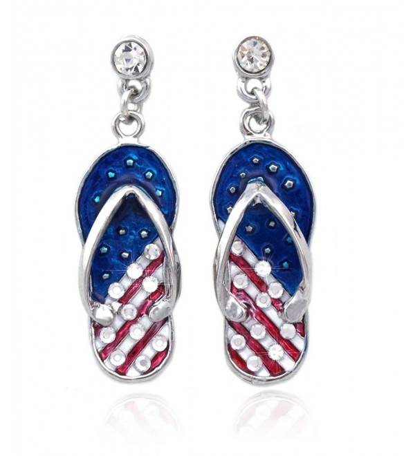 4th of July USA American Flag Design Flip Flop Sandal Post Dangling Earrings - Silver-tone - CB11Z7512S9