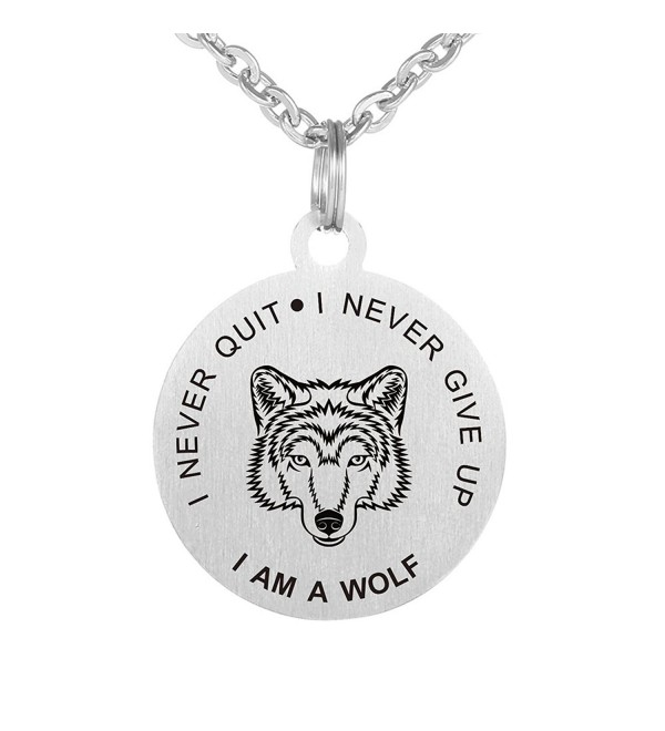 I Never Give Up I Never Quit I am a Wolf Lover Dog Tag Keychain Pendant Necklace - CM189WOAC6G