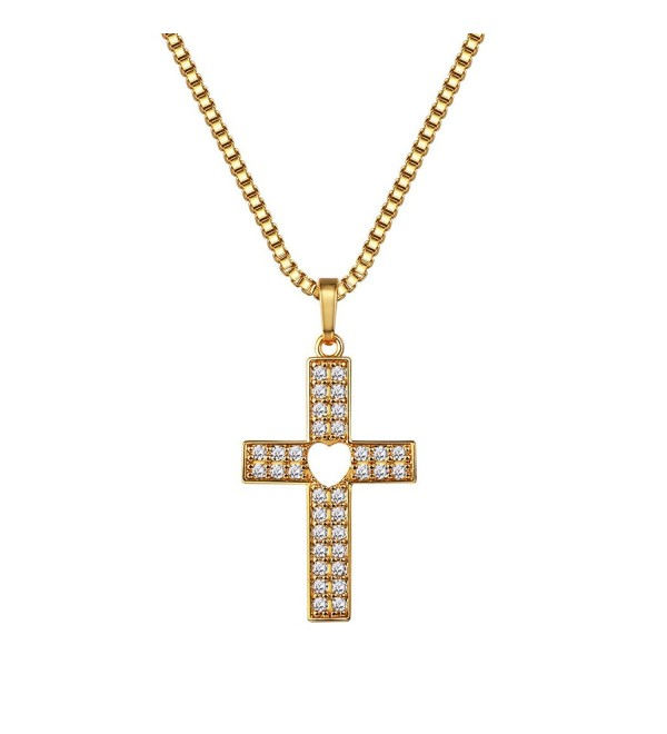 CZ Cross with Centered Heart Pendant Necklace-Pave Set Crystal Cross Necklace - C718876X2GU