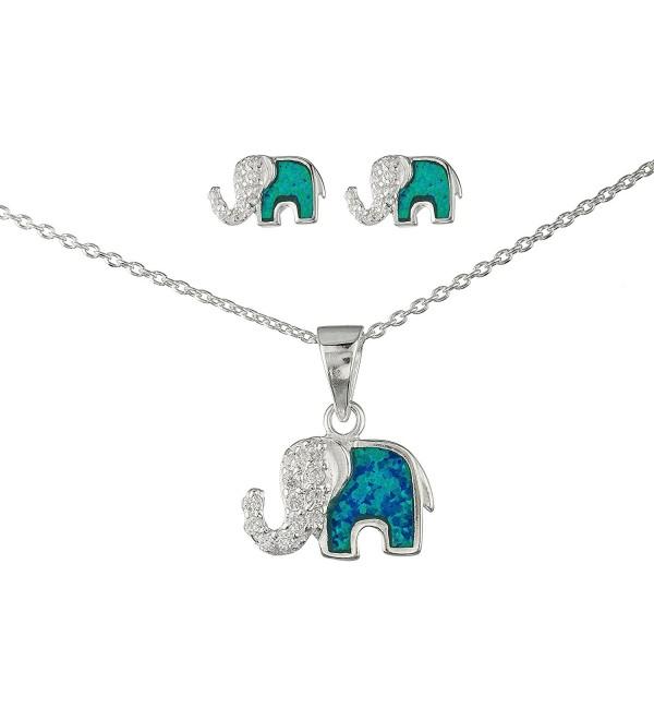 925 Sterling Silver Opal Elephant Pendant Necklace with Cz Stones and Matching Stud Earrings Jewelry Set - CY11UFEPZGR