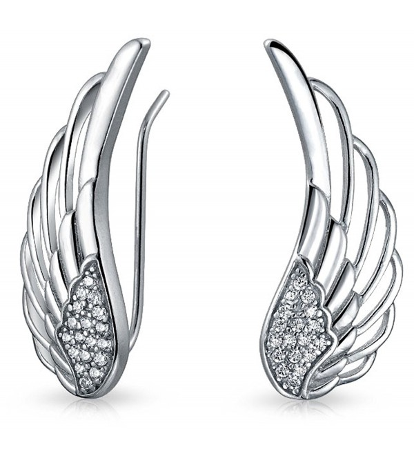 Guardian Angel Feather Wing Sterling Silver Ear Pin Earrings - CJ1293T66EJ