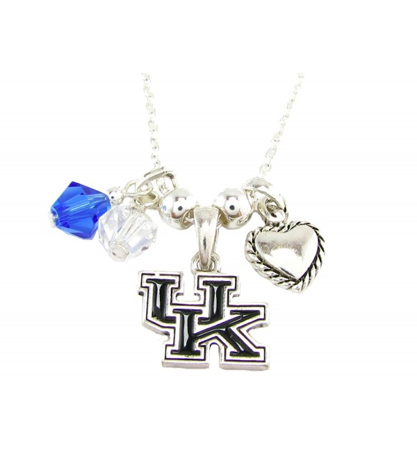 Kentucky Wildcats Blue Clear Austrian Crystal Heart Silver Chain Necklace UK - CY11R23DS6D
