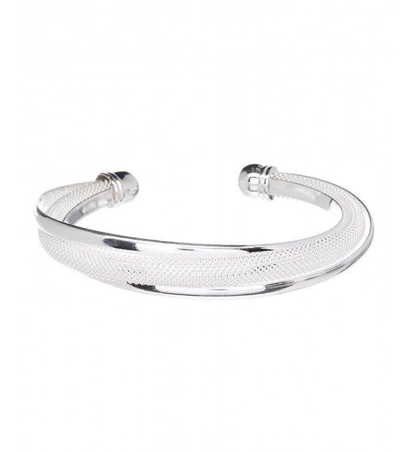 Mandy Sterling Silver Plated Bracelet -925 Sterling Silver Plated Bangle Cuff Bracelet Silver Bracelet for Women - CH120XVDZEF