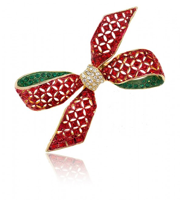 Akianna Gold-tone Swarovski Element Crystals Christmas Red Ribbon Bow Brooch Pin - C712727EL73