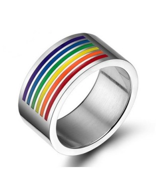 LGBT 10MM Rainbow Enamel Band Flag Gay Lesbian Jewelry Ring Size 6-13 - C3182ASUXDZ