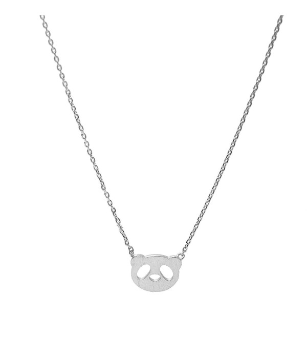 Spinningdaisy Handcrafted Brushed Metal Panda Head Necklace - CJ11YBMS84F