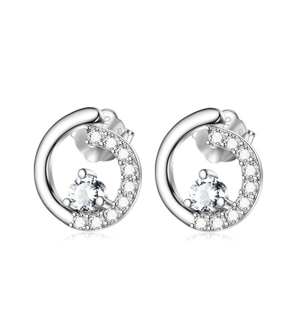 Sterling Silver Tiny Open Circle Stud Earrings with Zircon Paved White Gold Plated Women CZ Jewelry - CZ1845NYGRA