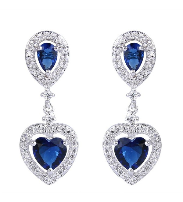 EVER FAITH Women's Cubic Zirconia Wedding Elegant Teardrop Love Heart Dangle Earrings Silver-Tone - Blue - CE17WW08YEY