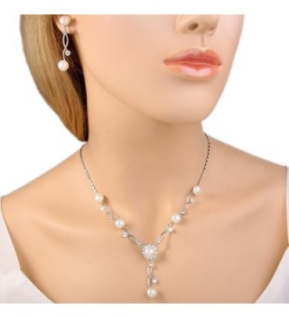 EleQueen Silver Tone Zirconia Simulated Necklace in Women's Jewelry Sets