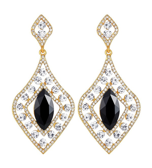 Flapper Art Deco Party Dress Rhinestone Black Crystal Diamond-shaped Large Gold Statement Earrings - CG188NEM4H6