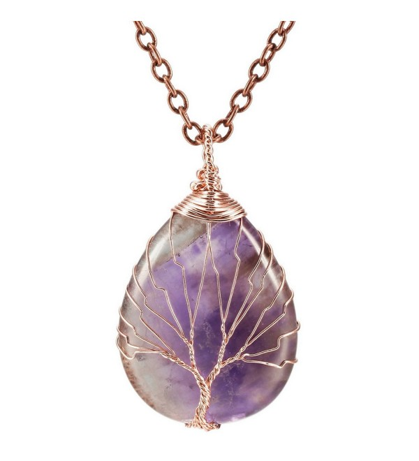MOWOM Copper Pendant Necklace Simulated Stone Tree Of Life Chakra - 01.purple - C0183S3CR40