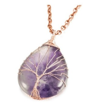 MOWOM Pendant Necklace Simulated Amethyst