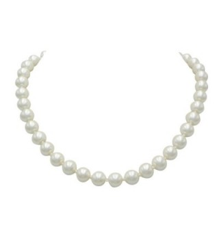 Rosemarie Collections Women's Classic Cream Faux Pearl Strand Necklace 18 Inch - CV12JDOCPKN