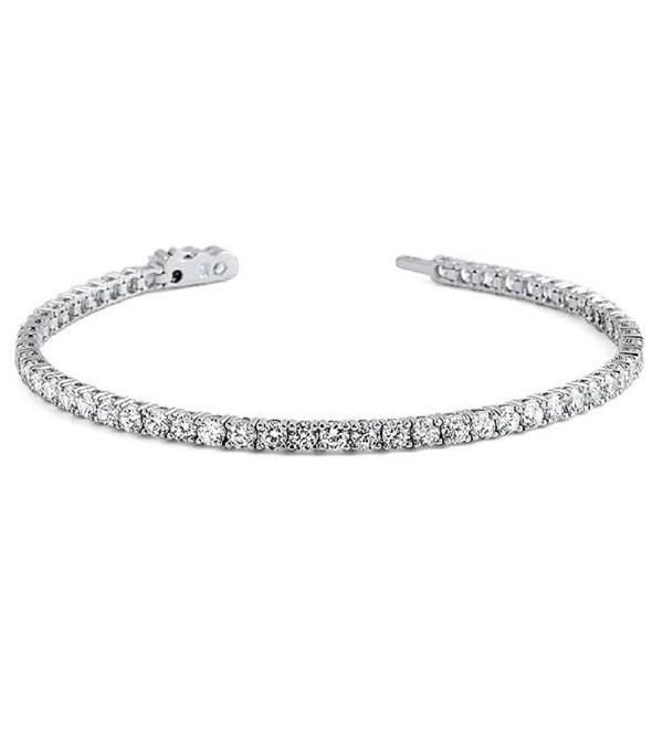 Sterling Silver Round Cut 3MM Cubic Zirconia Tennis Bracelet- Classic- Elegant design - CV187RMGN0X