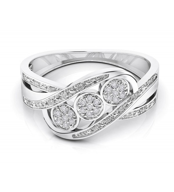 10K Gold Natural White Diamond Statement Fashion Ring (0.10 Cttw-G-H Color-) - white-gold - C8186AWQQ28