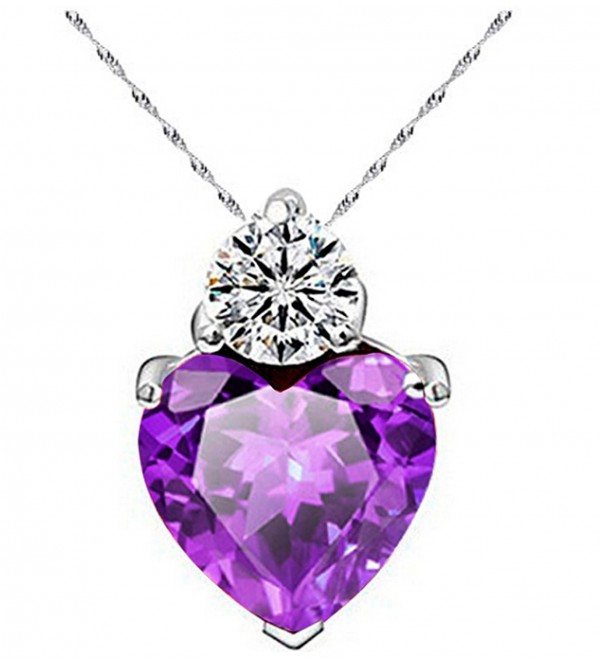 "UBIQLINE Crystal Heart Pendants | RED- PURPLE- CLEAR | White Gold Plated | Pendant with 18"" Chain - Purple - CJ12H3QXAPV"