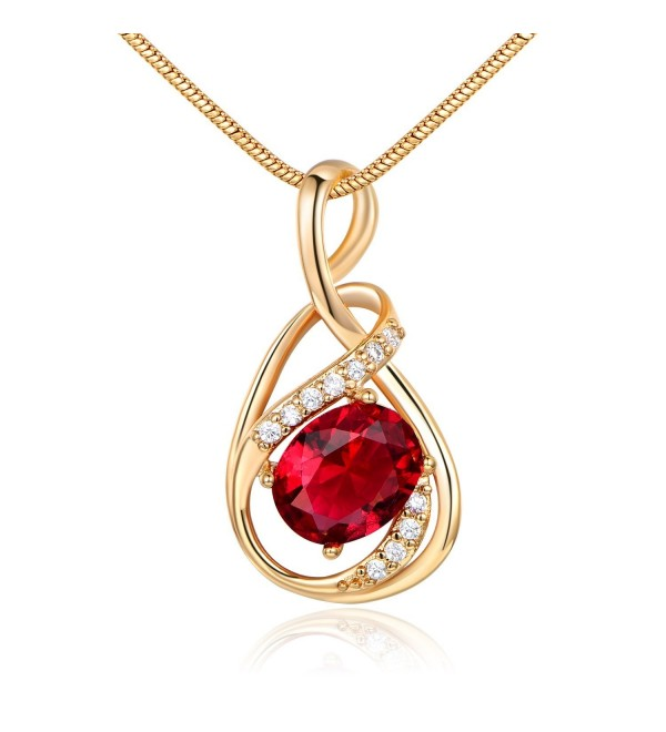 GULICX White Gold Tone/Gold Tone Artistic Ruby Color Red CZ Chic Pendant Necklace - CO11ZS2OGL1