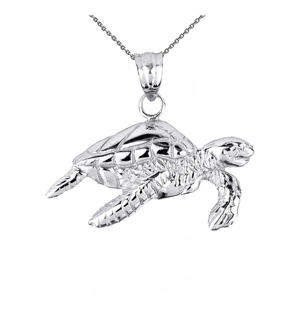 Solid Sterling Silver Sea Turtle Pendant Necklace - C512NVD817V