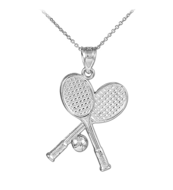 925 Sterling Silver Tennis Racquets and Ball Sports Pendant Necklace - C1125WE44KH
