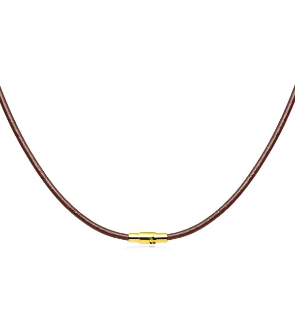 2mm Brown Leather Necklace Magnetic Clasp - C711YKYKCJ3