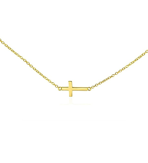 Sideways PETITE Cross Necklace .925 Solid Silver Gold Tone Women's Horizontal Cross Pendant Gift Box - CV11BH9CK03