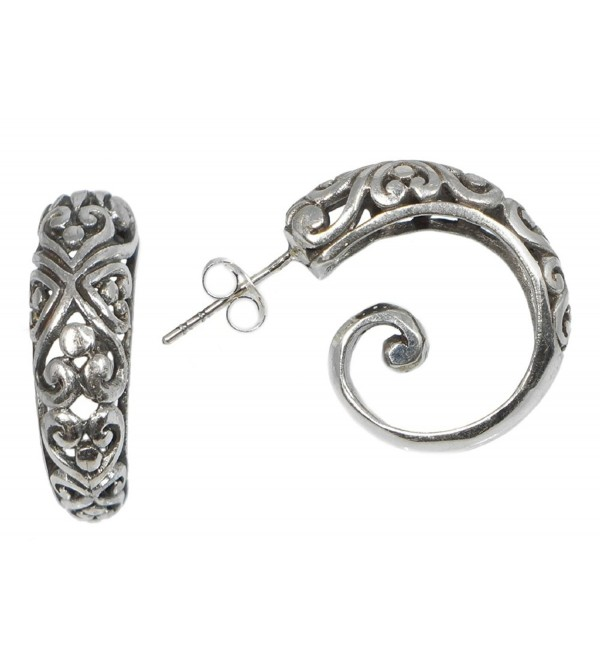 Sterling Silver Balinese Filigree Spiral Hoop Earrings Bali - CL116X0QHYB