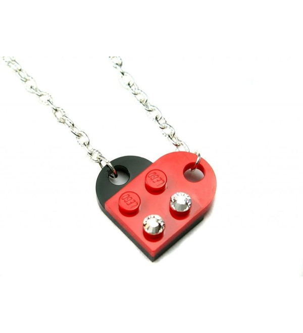 LEGO Heart Pendant Necklace Red and Black Fun Jewelry - C711NR3FJ8R