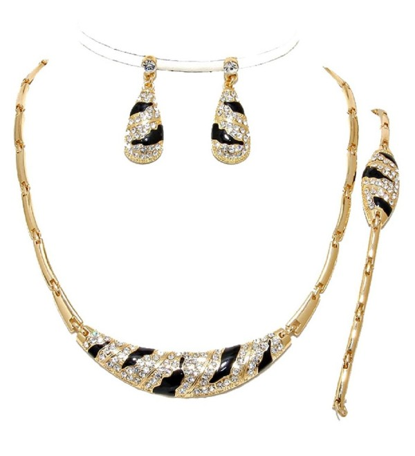 3 Pcs Elegant Luxury Gold Black Crystal Zebra Wild Print Necklace Bracelet Earrings Set - CO12C4LQ477