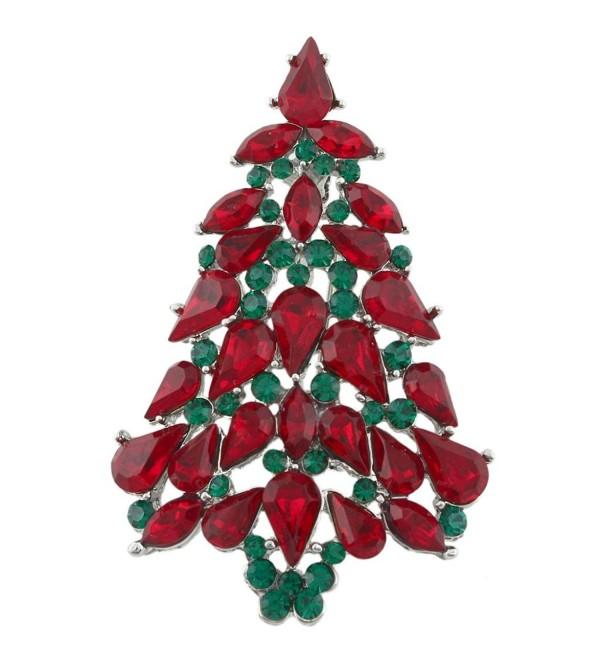 EVER FAITH Party Wishing Tree Teardrop Austrian Crystal Brooch Pin Silver-Tone - Red w/ Green - CP11BGDPA47