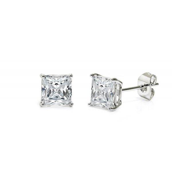 Princess Cut Square Cz Basket Set Sterling Silver Stud Earrings 6mm - CN12D75275R