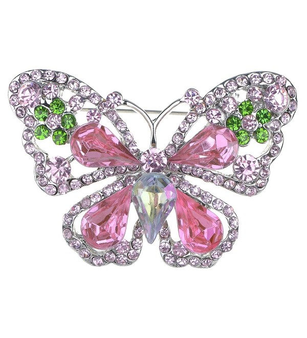 Alilang Rose Pink Peridot Green Crystal Rhinestone Butterfly Fashion Pin Brooch - C1112TAT5X3