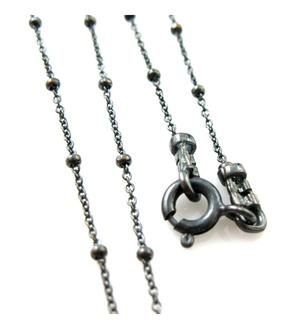 Oxidized Sterling Silver Beaded Ball Necklace Chain- Beaded Cable Chain Necklace-All Sizes - C812NT9H3VQ
