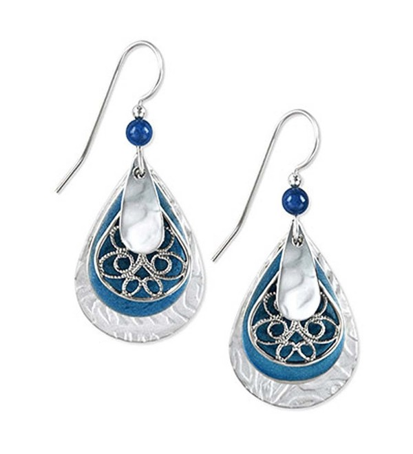 Silver Forest Blue & Silver Tone Teardrop Dangle Earrings - C91192GRLAL