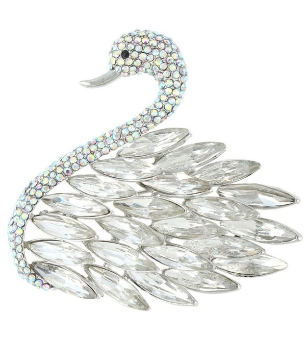 EVER FAITH Women's Austrian Crystal Elegant Swan Feather Pendant Brooch - Clear Silver-Tone - CM11Q8EM85J