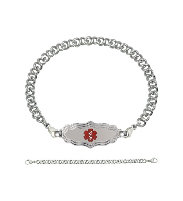 Divoti Custom Engraved Victorian Art Deco Medical Alert Bracelet -Knot Links Chain-TP Red - CE1808MHE3I