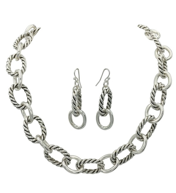 Simple Chunky Rope Twist Chain Statement Boutique Necklace & Earrings Set - Silver Tone - CK1884XCX46
