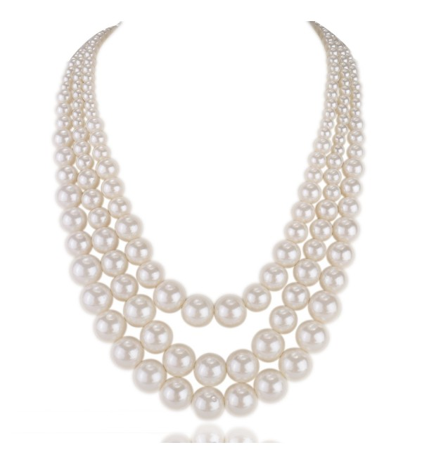 "Kalse Multiple 3 4 5 Layer Simulated Pearl Strand Bib Pendant Long Necklace 22.5""-25"" - CJ12IYXZ1V9"