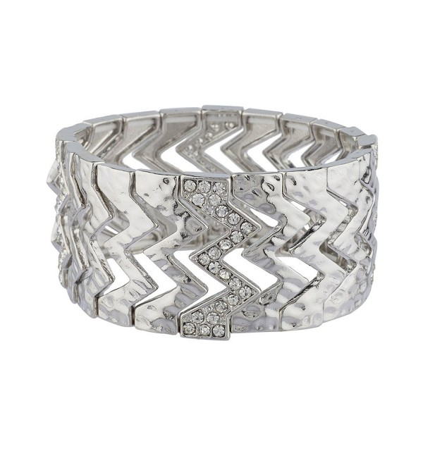 Lux Accessories Hammered Zig Zag Pave Geo Geometric Stretch Bracelet - Silver - CH12HL7HJ19