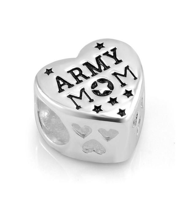 925 Sterling Silver Enamel US American Flag ARMY MOM Heart Bead Charm Fit Major Brand Bracelet - CW11DM5NZW7