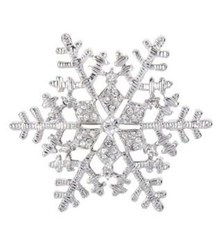 EleQueen Women's Winter Snowflake Clear Brooch Pin - CL128CG39HV