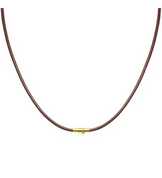 Brown Leather Necklace Magnetic Clasp