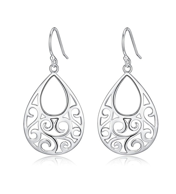 Sterling Silver Filigree Abstract Peacock Design Dangle Drop Earrings For Sensitive Ears By Renaissance Jewelry - CI12K3UCUND