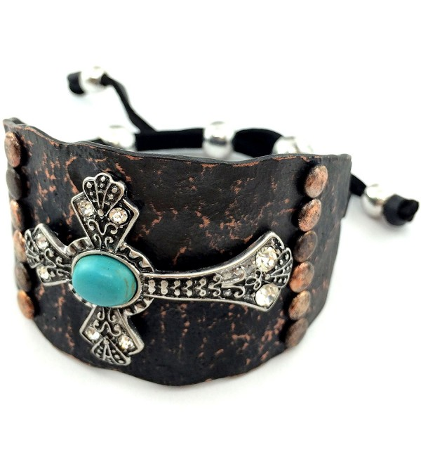 Western Peak Western Silver Rhinestone Hammered Plate Cross Turquoise Black Leather Cuff Bracelet - Brown - CU129E68EK5