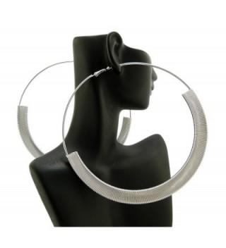 """Flat Omega Chain Wrap 4.75"""" Large Hoop Earrings - Silver-Tone - CK11H6U85HJ"""