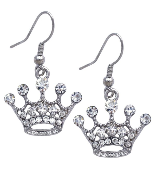 "cocojewelry Queen Princess Crown Tiara Charm Hook Dangle Earrings - ""7/8"""" Hook Clear"" - CR186KSS4NE"