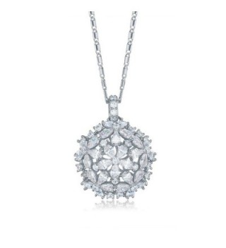 SHINCO Bella Lotus Flower Cluster Necklace with 18k Gold Plated CZ Pendant- 2 Colors - CU12D5B6RVX