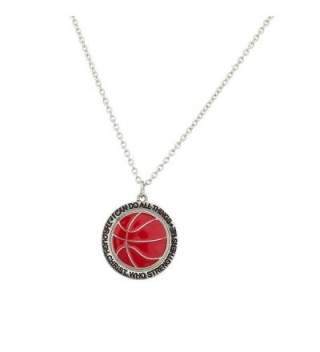 Lux Accessories Basketball I Can Do All Things Through Jesus Christ Who Strengthens Me Sport Necklace. - CW129GCMGP1