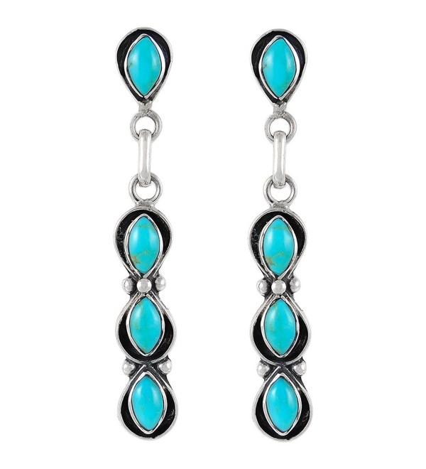 Southwest Style Earrings Genuine Turquoise & 925 Sterling Silver dangle earring gemstone jewelry - Blue - CX12K908HMP